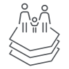 Line graphic showing two people and a child standing on trree hexagons shapes