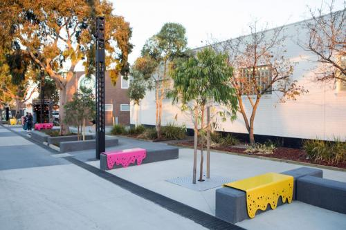 redeveloped streetscape in Brimbank featuring seating and landscaping