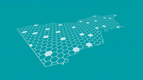 Graphic map of Victoria made of hexagon shapes