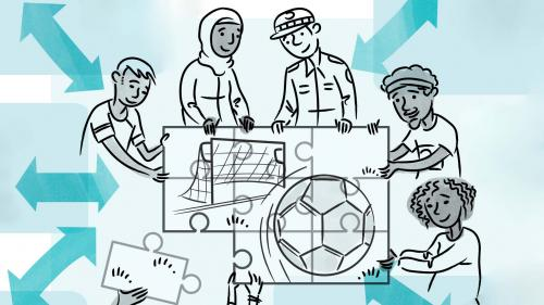 Illustration showing people solving a puzzle