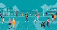 Animation of a street scene with people walking
